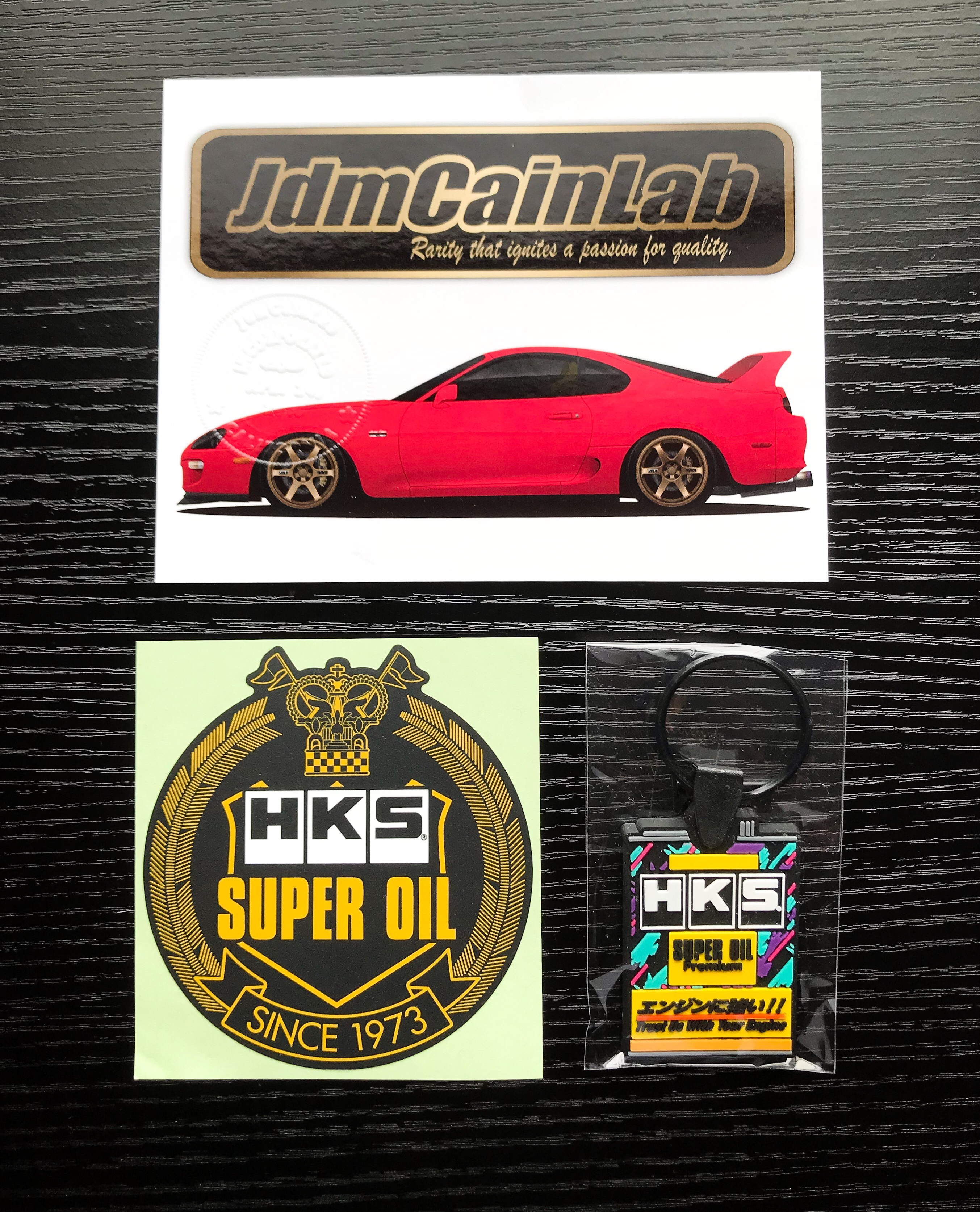 HKS Super Oil Key Chain And Decal Combo